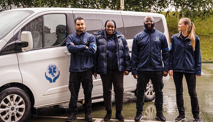 Team outside van
